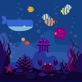 Underwater world vector illustration Royalty Free Stock Photo