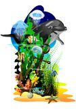 The underwater world. (Vector) Royalty Free Stock Photography