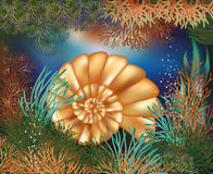 Underwater world wallpaper with golden seashell Royalty Free Stock Photos