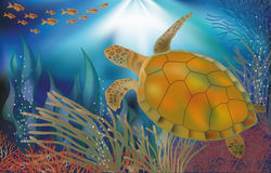 Underwater world wallpaper with turtle Stock Photography