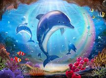Free Underwater World With Dolphins Royalty Free Stock Photography - 180109817