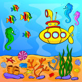 Underwater world with yellow submarine Royalty Free Stock Photos