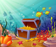 Underwater worlds with pirate treasures Royalty Free Stock Images