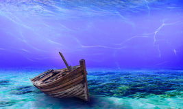Underwater Wreck Background in the Sea Royalty Free Stock Photos