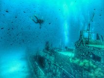 Underwater Wreck. Picture of an underwater wreck made in malta Royalty Free Stock Images