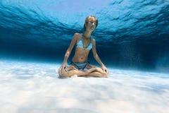 Underwater yoga Stock Photo