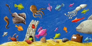 Underwatter life. Acrylic illustration of underwatter life Royalty Free Stock Images
