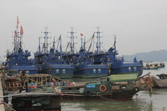 Underway replenishment of fishermen Stock Photo