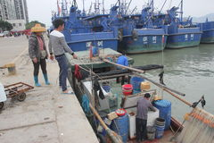 Underway replenishment of fishermen Stock Photography