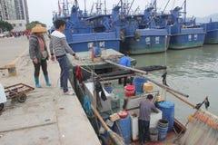 Underway replenishment of fishermen Stock Photography