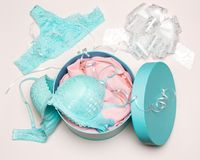 Underwear as gift for beloved woman. Underwear as present for beloved woman. Open round gift box with sexy lingerie set Royalty Free Stock Photo