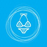 Underwear, bikini icon on a blue background with abstract circles around and place for your text. stock illustration