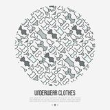Underwear clothes concept in circle. With thin line icons of bikini, bra, tankini, pants. Vector illustration for web page, banner, print media Stock Image