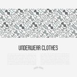 Underwear clothes concept with thin line icons. Of bikini, bra, tankini, pants. Vector illustration for web page, banner, print media Royalty Free Stock Image