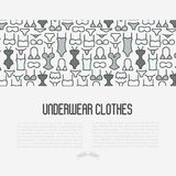 Underwear clothes concept with thin line icons. Of bikini, bra, tankini, pants. Vector illustration for web page, banner, print media Royalty Free Stock Photos