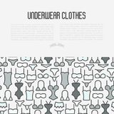 Underwear clothes concept with thin line icons. Of bikini, bra, tankini, pants. Vector illustration for web page, banner, print media Royalty Free Stock Photography