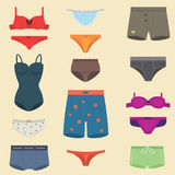 Underwear clothes fashion look man and woman vector set. Underwear clothes for man and woman vector icon isolated for design. Elegance bikini line accessories Stock Images