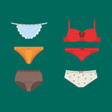 Underwear clothes vector set. Royalty Free Stock Photo
