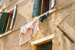Underwear on clothesline to dry outside the  house Royalty Free Stock Photography