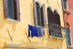 Underwear on clothesline to dry outside the  house Stock Image