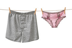 Underwear Hanging on a Clothesline Stock Image