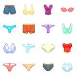 Underwear icons set, cartoon style Royalty Free Stock Image