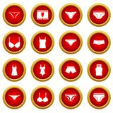 Underwear items icon red circle set Royalty Free Stock Images