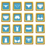 Underwear items icons azure Stock Photos