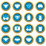 Underwear items icons blue circle set Royalty Free Stock Image