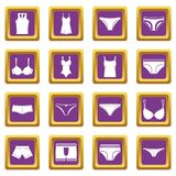 Underwear items icons set purple Royalty Free Stock Photo