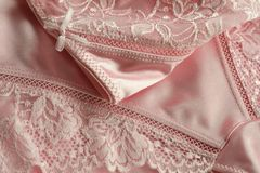 Underwear with needle lace of rosy color Royalty Free Stock Photo
