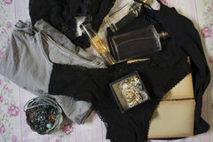 Underwear,perfumes and jewerly Stock Photography