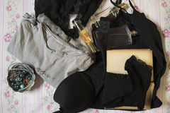 Underwear,perfumes and jewerly Royalty Free Stock Photo