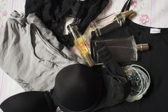 Underwear,perfumes and jewerly Royalty Free Stock Images