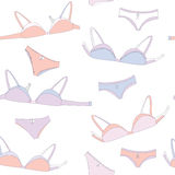 Underwear seamless pattern with bra Royalty Free Stock Images