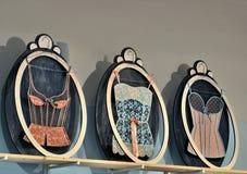 Underwear store. Detail of women's underwear on the wall,fancy underwear shop Royalty Free Stock Photography