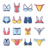 Underwear types icons set, cartoon style. Underwear types icons set. Cartoon illustration of 16 underwear types vector icons for web royalty free illustration