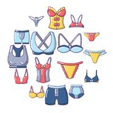 Underwear types icons set, cartoon style. Underwear types icons set. Cartoon illustration of 16 underwear types vector icons for web Royalty Free Stock Photography