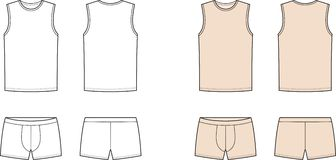 Underwear. Vector illustration of mens underwear. Singlet and pants. Front and back views Stock Image