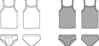 Underwear. Vector illustration of mens underwear. Singlet and pants. Front and back views Stock Photo