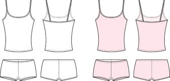 Underwear. Vector illustration of womens sport underwear. Singlet abd shorts. Front and back views Royalty Free Stock Images