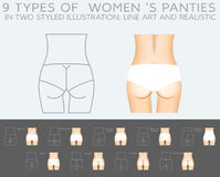 Underwear vector set. 9 types of women's panties in two styled illustration that are line art and realistic vector illustration