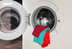 Underwear in washing machine Stock Photo