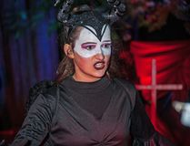 Underworld demon at Halloween. Demon in the underworld together ghosts and ghouls at Halloween on 28th October 2017 at Ness Islands Halloween Festival, Inverness stock images