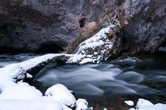 Underworld river. In winter time, Karst Royalty Free Stock Images