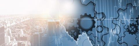 Undeutliche Skyline mit blauem Zahn und Finanzierung stellen Übergang grafisch dar Stockfotos