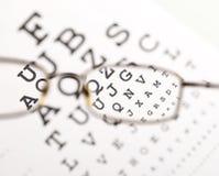 Undeutlicher Text, der durch Brille aufräumt Stockfotos