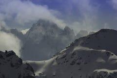 Undeutlicher Wintergipfel Stockfoto