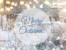 Undeutliches und abstraktes magisches Winterlandschaftsfoto mit Grußtext: Frohe Weihnachten Funkelnüberlagerung Stockfotos