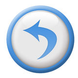 Undo button. Blue and white button, part of 36 button collection. Also available in red or grayscale Vector Illustration